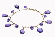 Amethyst drop bracelet in 14kt gold filled