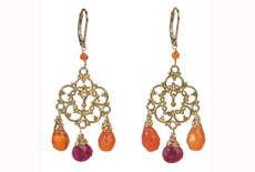Ruby and Carnelian chandelier earrings in 14kt gold filled and vermeil